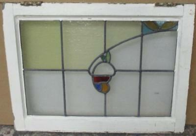 MID SIZED OLD ENGLISH LEADED STAINED GLASS WINDOW Delightful Floral 24.5 x 18.25