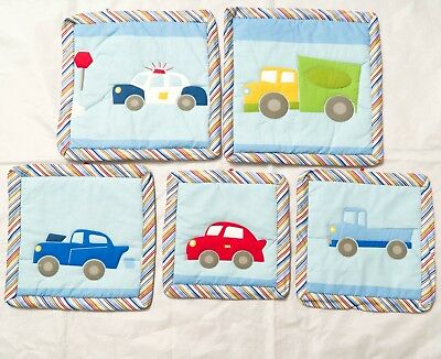 Car Nursery Quilted Panels Decor Truck Police Stripe Blue Baby Boy 5 Pieces Hang