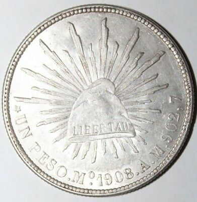 1908 Republic of Mexico One (UN) Peso Mo A.M. .90, 7 Auction w/a Bid Start $0.99