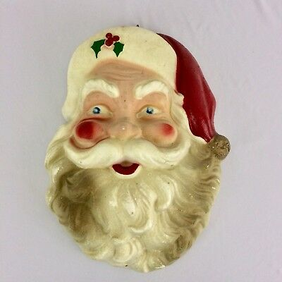 VINTAGE SANTA CLAUS Styrofoam Head Large Christmas Decor Wall Door ...