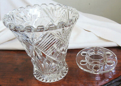 Vintage Depression Glass Vase With Scalloped Edges & With Frog