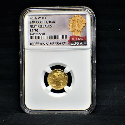 2016 W Mercury Dime 24K Gold 1/10oz. First Releases NGC SP 70 2687662-004
