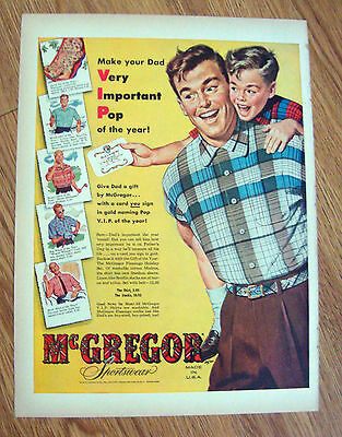 1954 McGregor Sportswear Ad  Make Your Dad Very Important Pop of the Year