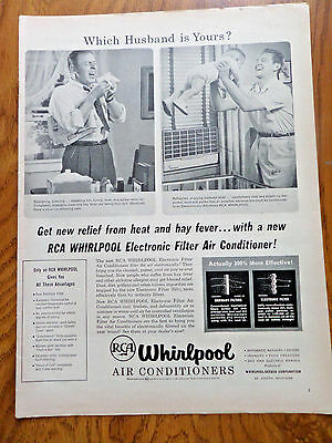 1956 RCA Whirlpool Electronic Filter Air Conditioners Ad Which Husband is Yours?