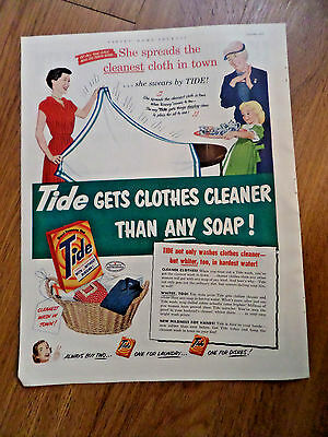 1952 Tide Laundry Soap Ad Lady Housewife She Spreads the Cleanest Cloth in Town