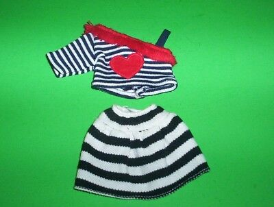 "Groovy Girls 13"" Doll Clothes Shirt with Red Heart & Fringe and Striped Skirt"