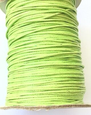 10 Yards Genuine Lime Natural Round Cotton Waxed Cord-Jewelry Supplies