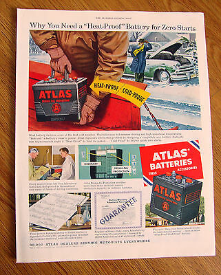 1954 Atlas Tires Ad Why you Need A Heat-Proof Battery for Zero Starts