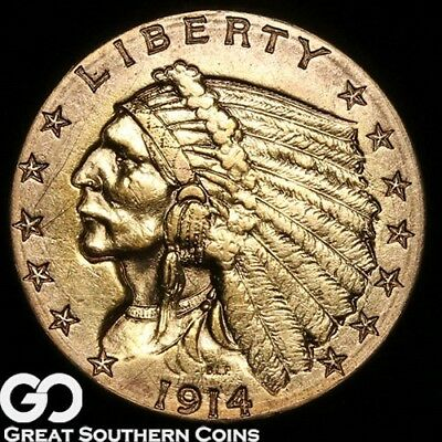 1914-D Quarter Eagle, $2.5 Gold Indian, Lustrous Better Date ** Free Shipping!