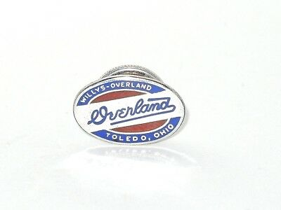 STERLING SILVER Guilloche Enamel Willys-Overland Company Toledo OH Screwback Pin