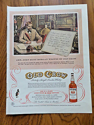 1956 Old Crow Whiskey Ad  General John Hunt Morgan Morgan's Confederate Raiders