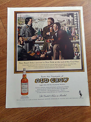 1961 Old Crow Whiskey Ad General Basil Duke New York