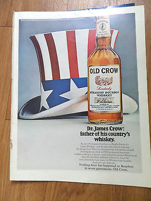 1969 Old Crow Whiskey Ad Dr James Crow Father of his Country's Whiskey