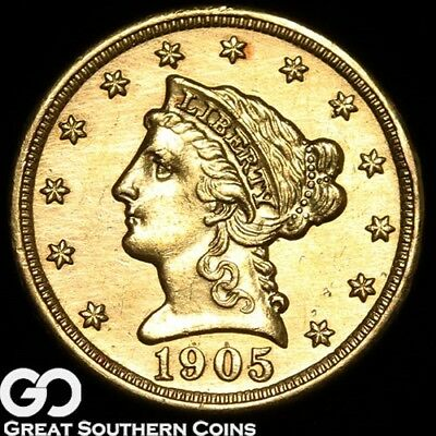 1905 Quarter Eagle, $2.5 Gold Liberty, Details, Cleaned ** Free Shipping!