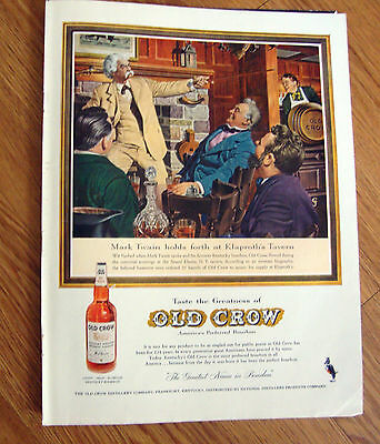 1959 Old Crow Whiskey Ad Mark Twain Klaproth's Tavern 1959 Coke Coca-Cola Ad