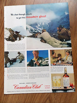 1950 Canadian Club Whiskey Ad Shooting Chamois Goats in the Swiss Alps