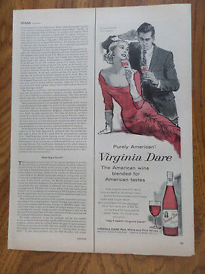 1957 Virginia Dare Wine Ad  Purely American  Red White & Pink Wines