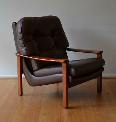 retro mid century danish modern brown leather TESSA T1 T21 armchair Fred Lowen