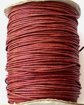 10 Yards Genuine Raspberry Red Natural Round Cotton Waxed Cord-Jewelry Supplies