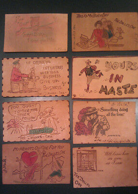 Vintage 1906-1907 Leather Postcards - Lot of 8 - The Dalles, OR