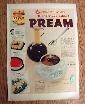 1955 Pream Ad New Easy Thrifty Way to CREAM your Coffee!