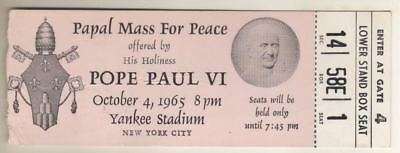 """Pope Paul VI  """"Papal Mass For Peace"""" TICKET  October 4, 1965 Yankee Stadium  NYC"""