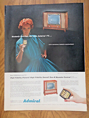 1958 Admiral Color TV Television  Ad  with Wireless remote Controlled