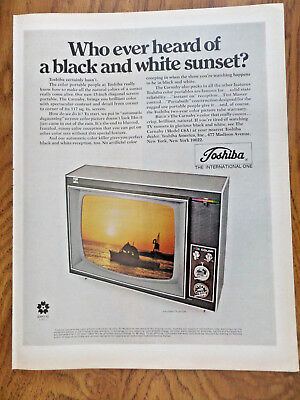 1969 Toshiba TV Television Ad  Portable Who ever Heard of Black White Sunset?