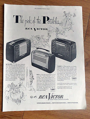 1950 RCA Victor Portable Radios Ad  Shows 3 Models