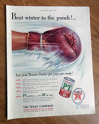1950 Texaco PT Anti-Freeze Ad  Beat Winter to the Punch