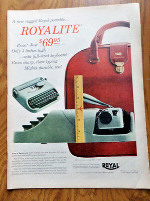 1956 Royal Portable Typewriter Ad   the Royalite
