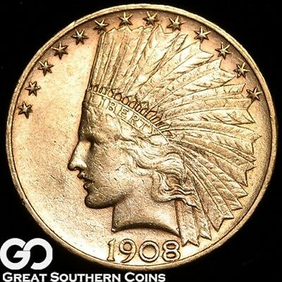 1908-D Eagle, $10 Gold Indian ** Free Shipping!