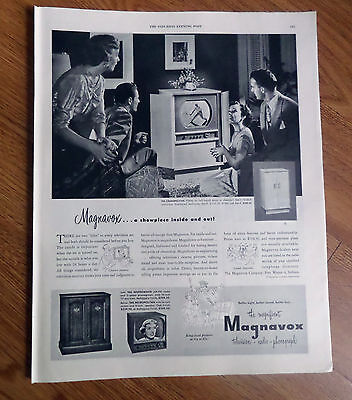 1950 Magnavox Radio-Phonograh TV Television Ad Tennis Game Theme on the Tube