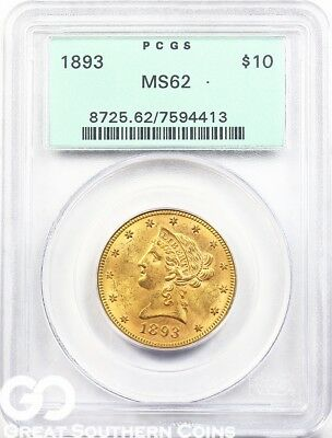 1893 PCGS Eagle, $10 Gold Liberty PCGS MS 62 ** Sharp Strike, Old Green Holder!