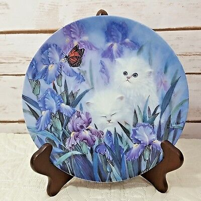 White Persian Kittens Irises Collector China Plate Garden Discovery Lily Chang