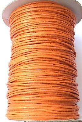 10 Yards Genuine Orange Natural Round Cotton Waxed Cord-Jewelry Supplies