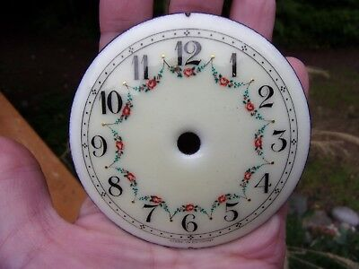 """2nd small antique porcelain CLOCK FACE~hand painted~3 1/8"""" dia for art or decor!"""