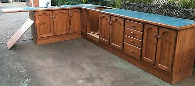 Secondhand L Shape Wooden Kitchen Cupboards Cabinets Drawers Sink Benches Kicks