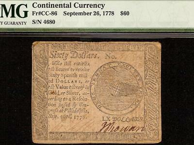 1778 $60 Dollar Bill Continental Congress Currency United States Note Cc-86 Pmg