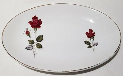 Vintage Myott Pottery Ironstone Red Rose Oval Plate c1947-77 Made In England