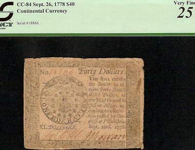 1778 $40 Dollar Continental Currency Paper Money Note All Seeing Eye Cc-84 Pcgs