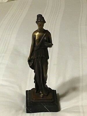Antique Neoclassical style bronze statue on marble base