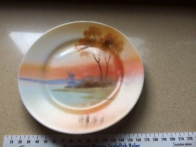 Vintage Side Plate Hand Painted Sunsets Circa 1940 Excellent Condition