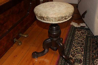 Vintage Charles Wadman, Bath . Round Swivel Piano Stool. Circa 1870's.Walnut.