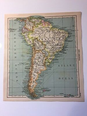 1920s Antique Map SOUTH AMERIKA BRAZIL ARGENTINA PERU BOLIVIA PARAGUAY COLUMBIA