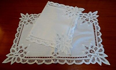 2 x Vintage white cotton and Battenberg lace mats or rectangular doilies.