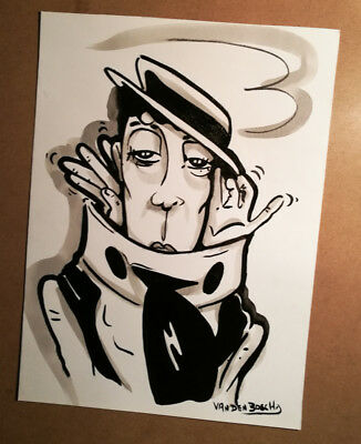 BUSTER KEATON  , DRAWING , ORIGINAL ,  ART,  signed