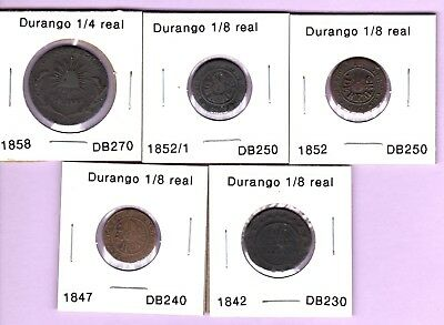 5 Durango state coppers, 1/8 & 1/4 real 1842 1847 1852 1852/1 1858, Mexico coins
