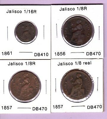 Jalisco state coppers 1/16 & 1/8 real, 1861 1856 1857 1857, Mexico coins
