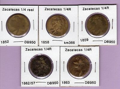 Zacatexas 1/4 reales brass coins, 5 different, 1852, 1858, 1859, 1862/57, & 1863